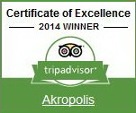 The Certificate of Excellence. Awarded to retaurant Akropolis in 2014 by TripAdvisor.